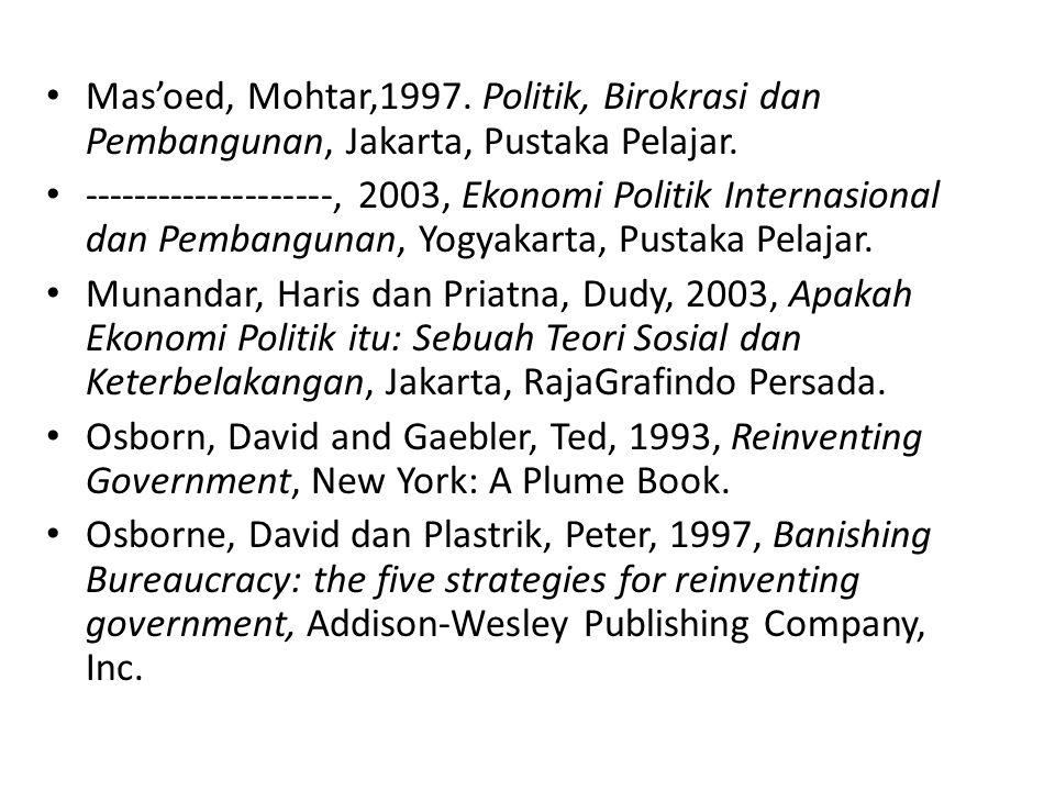 Mas'oed, Mohtar,1997. Politik, Birokrasi dan Pembangunan, Jakarta, Pustaka Pelajar.