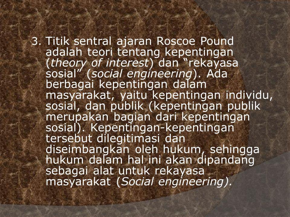 3. Titik sentral ajaran Roscoe Pound. adalah teori tentang kepentingan