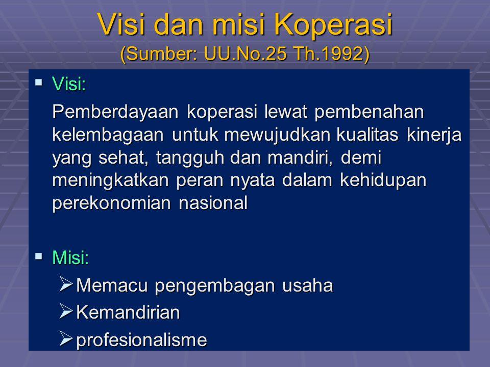 Visi dan misi Koperasi (Sumber: UU.No.25 Th.1992)