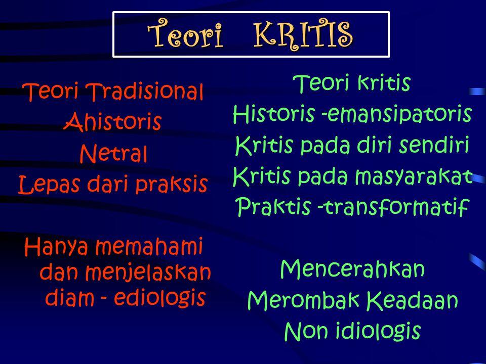 Teori KRITIS Teori kritis Teori Tradisional Historis -emansipatoris
