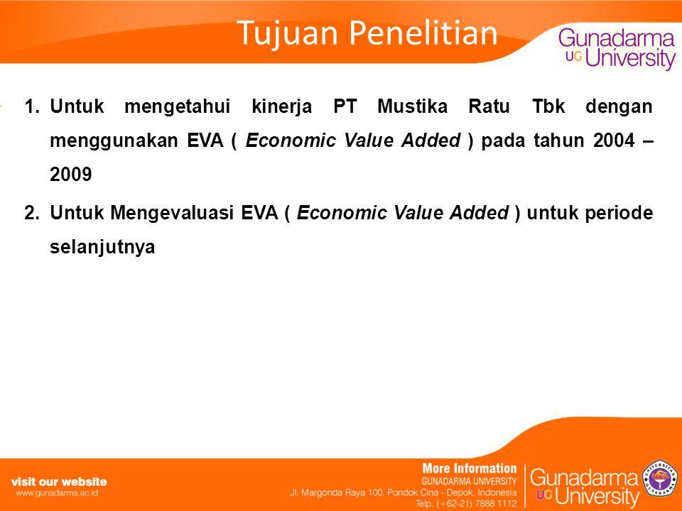 Tujuan Penelitian Untuk mengetahui kinerja PT Mustika Ratu Tbk dengan menggunakan EVA ( Economic Value Added ) pada tahun 2004 – 2009.