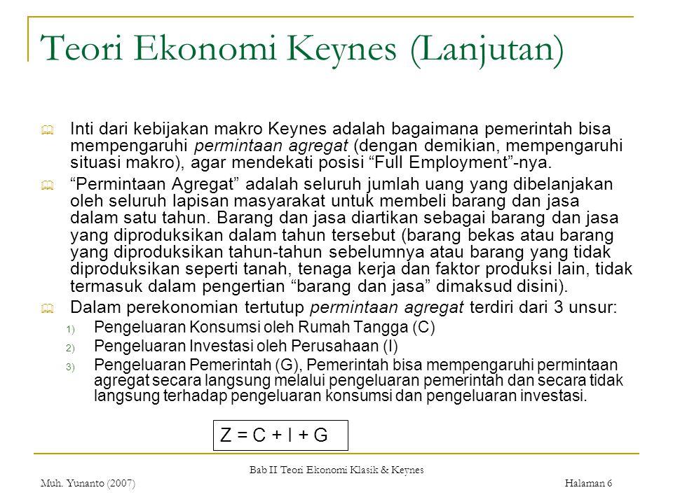 Teori Ekonomi Keynes (Lanjutan)