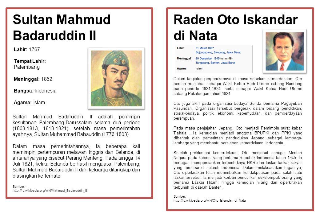 Sultan Mahmud Badaruddin II Raden Oto Iskandar di Nata