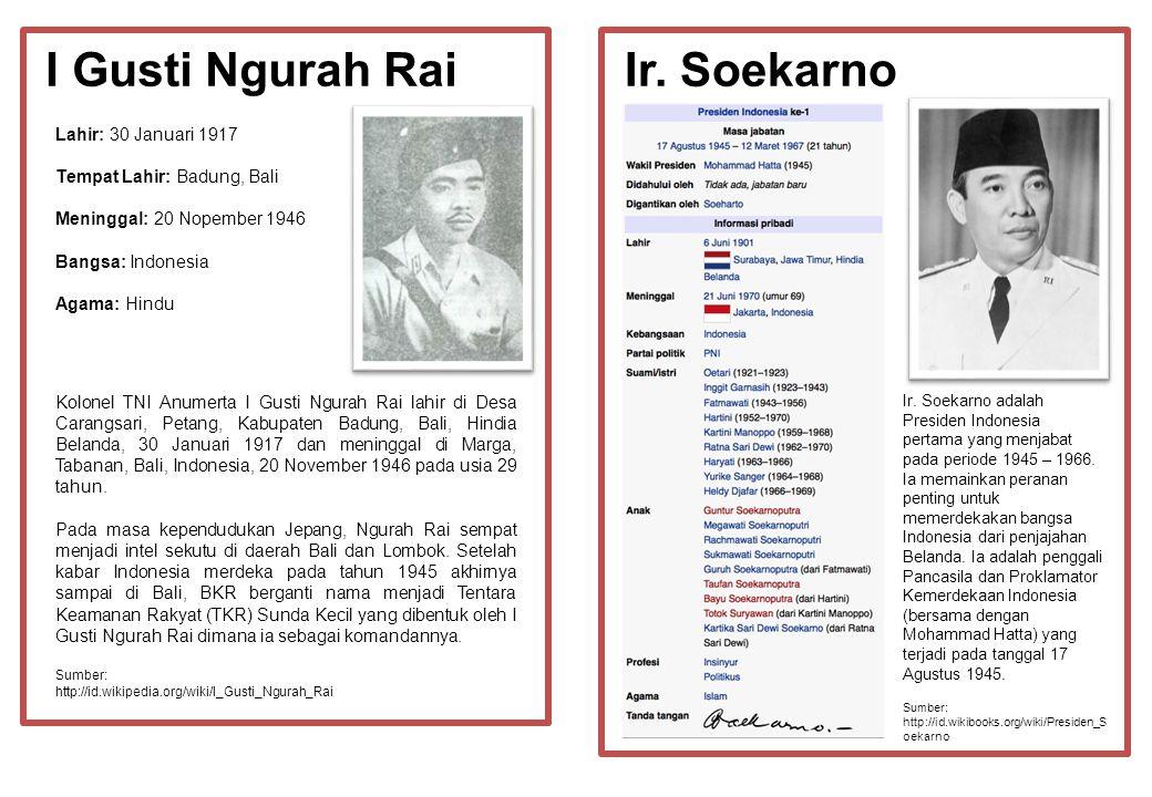 I Gusti Ngurah Rai Ir. Soekarno Lahir: 30 Januari 1917