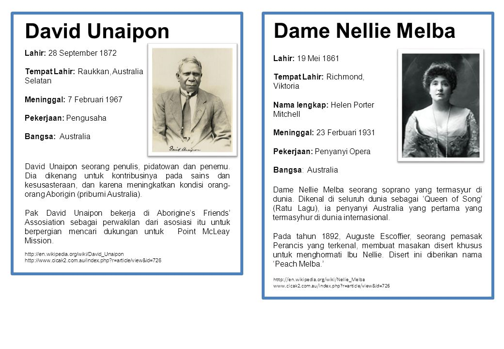 David Unaipon Dame Nellie Melba Lahir: 28 September 1872
