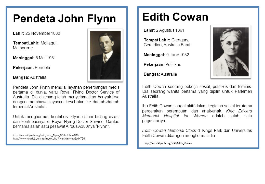 Edith Cowan Pendeta John Flynn Lahir: 2 Agustus 1861