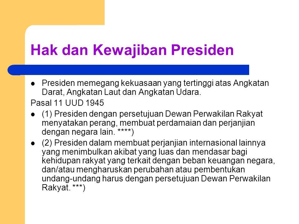 Hak dan Kewajiban Presiden