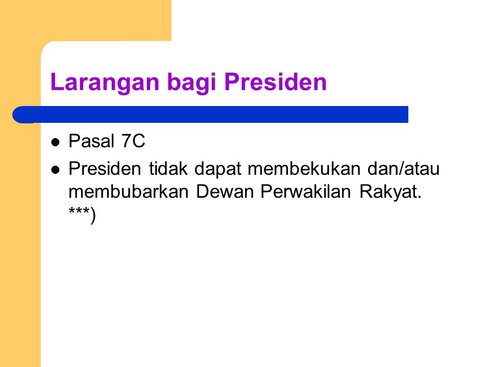Larangan bagi Presiden