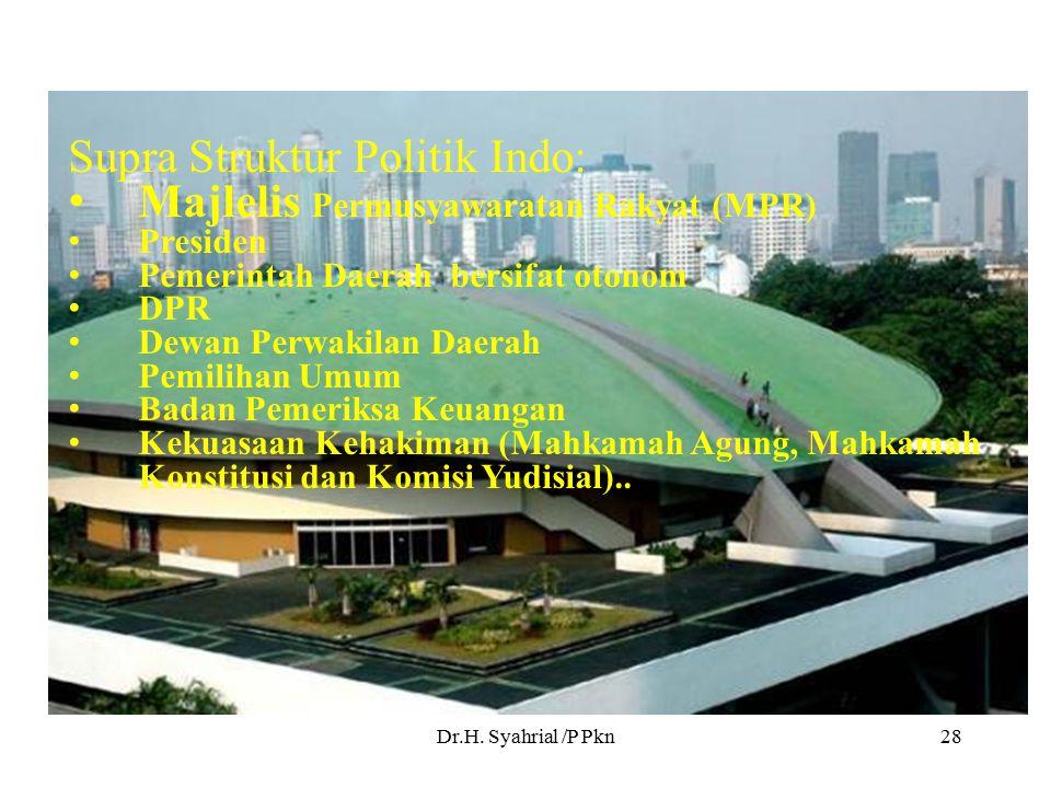 Supra Struktur Politik Indo: Majlelis Permusyawaratan Rakyat (MPR)
