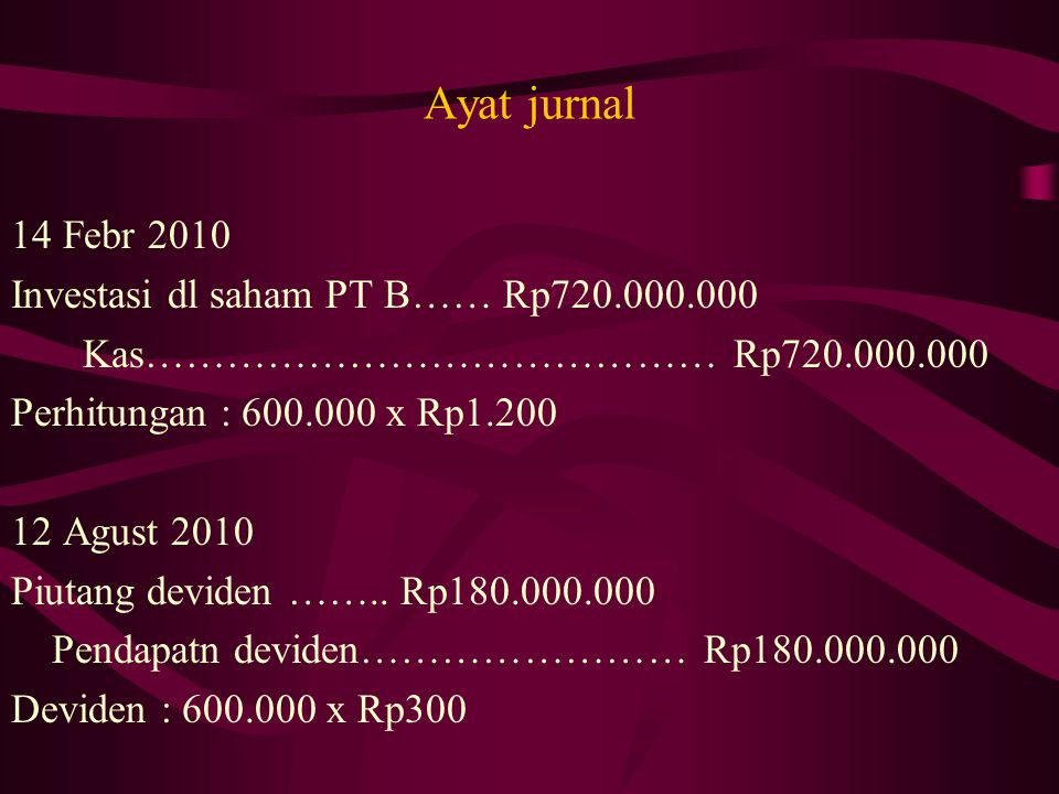 Ayat jurnal 14 Febr 2010 Investasi dl saham PT B…… Rp720.000.000