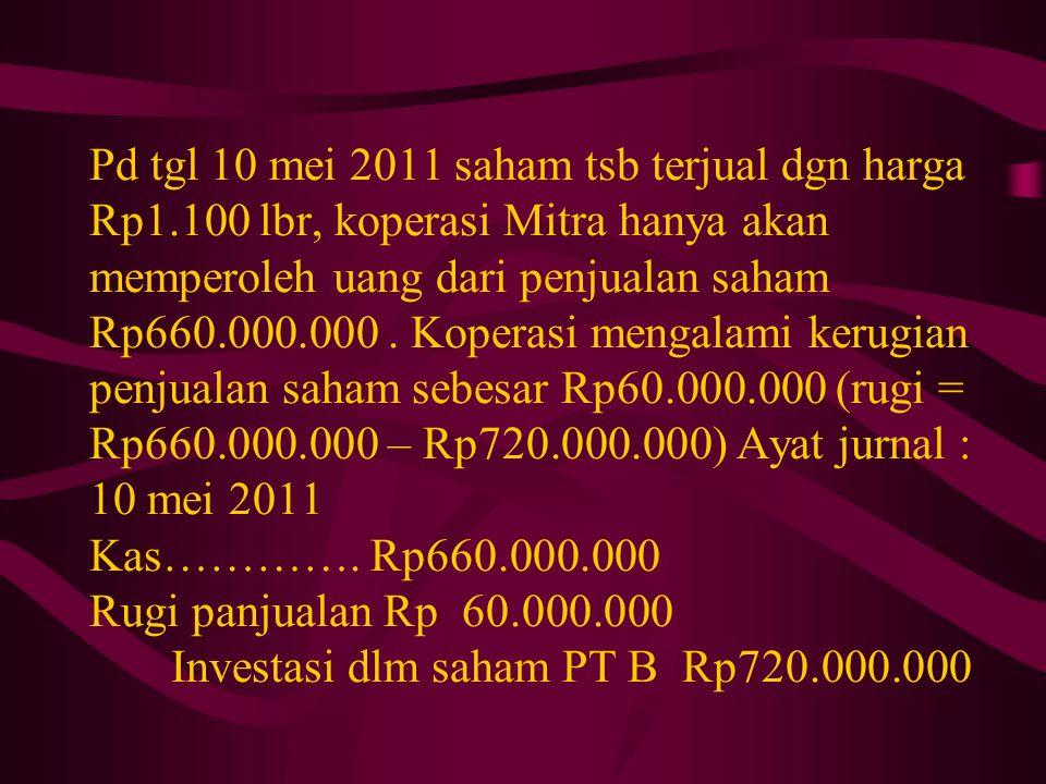 Pd tgl 10 mei 2011 saham tsb terjual dgn harga Rp1