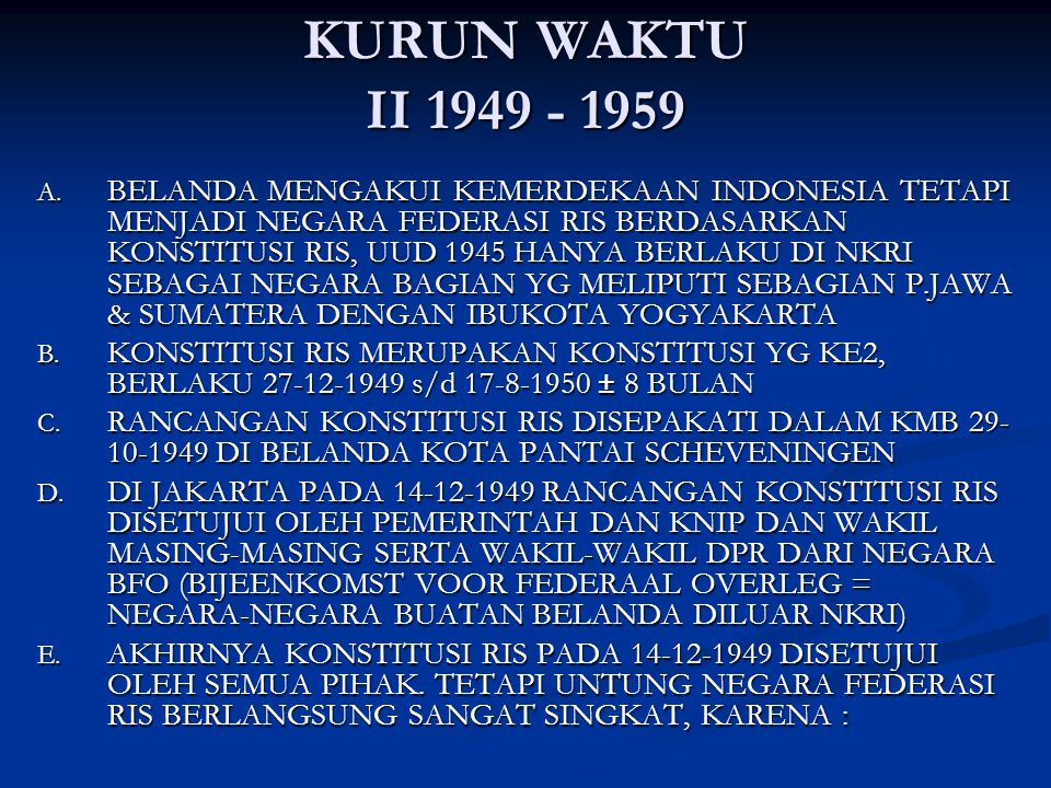 KURUN WAKTU II 1949 - 1959