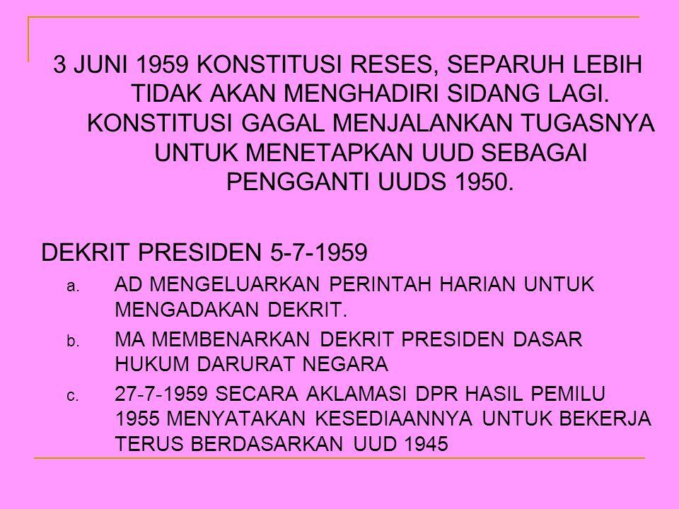 3 JUNI 1959 KONSTITUSI RESES, SEPARUH LEBIH TIDAK AKAN MENGHADIRI SIDANG LAGI. KONSTITUSI GAGAL MENJALANKAN TUGASNYA UNTUK MENETAPKAN UUD SEBAGAI PENGGANTI UUDS 1950.