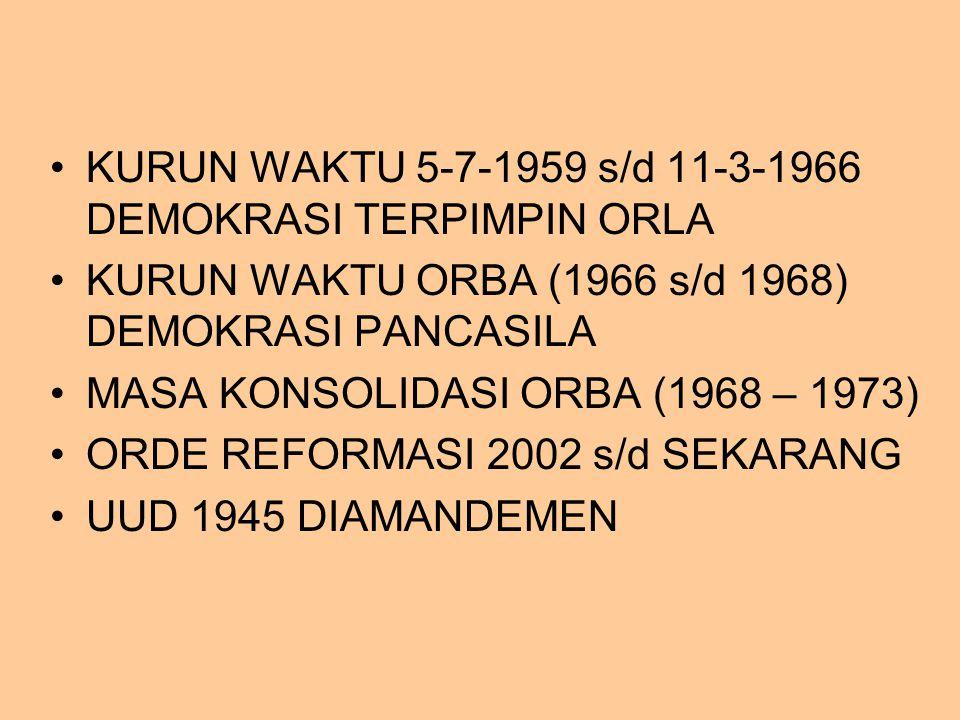 KURUN WAKTU 5-7-1959 s/d 11-3-1966 DEMOKRASI TERPIMPIN ORLA