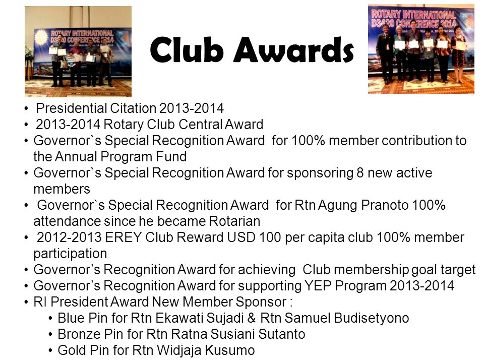 Club Awards Presidential Citation 2013-2014