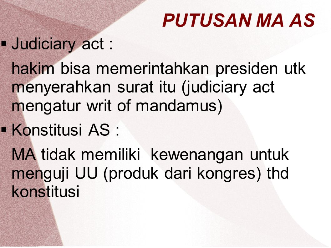 PUTUSAN MA AS Judiciary act :