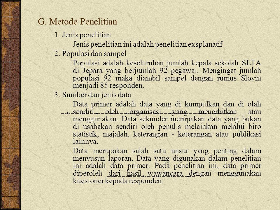 G. Metode Penelitian 1. Jenis penelitian