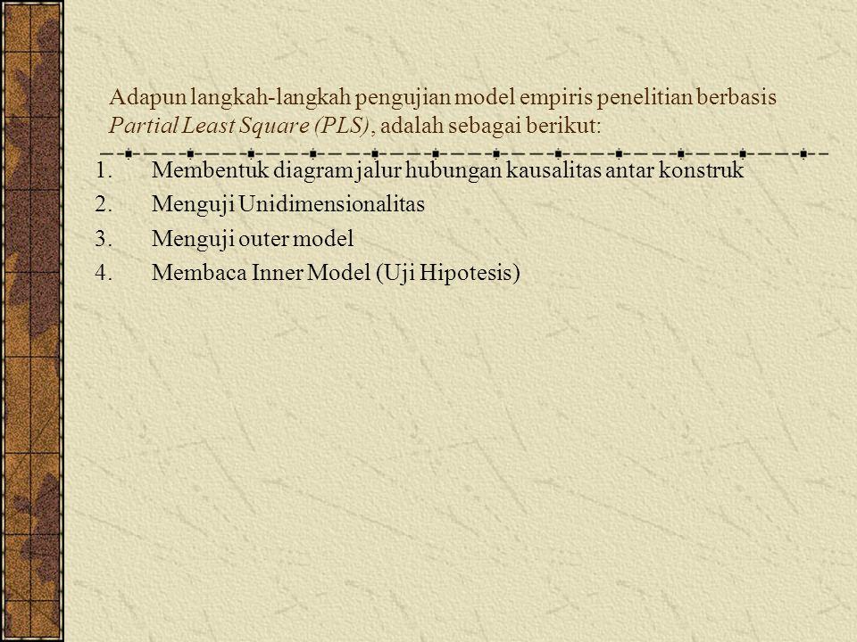 Adapun langkah-langkah pengujian model empiris penelitian berbasis Partial Least Square (PLS), adalah sebagai berikut: