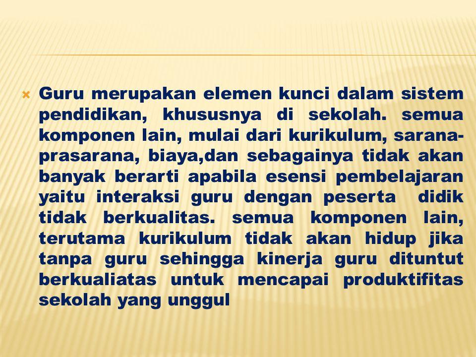 Guru merupakan elemen kunci dalam sistem pendidikan, khususnya di sekolah.