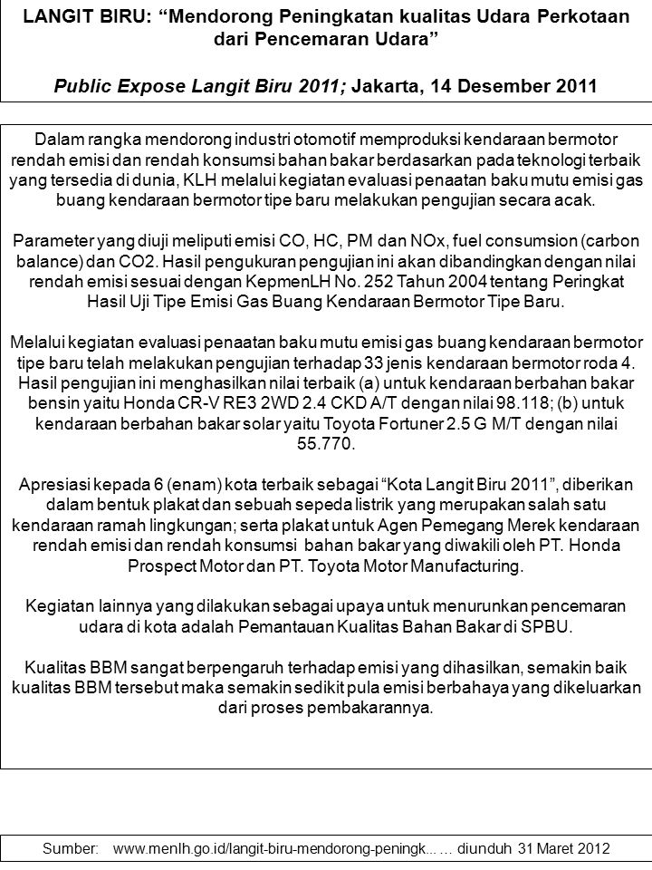Public Expose Langit Biru 2011; Jakarta, 14 Desember 2011
