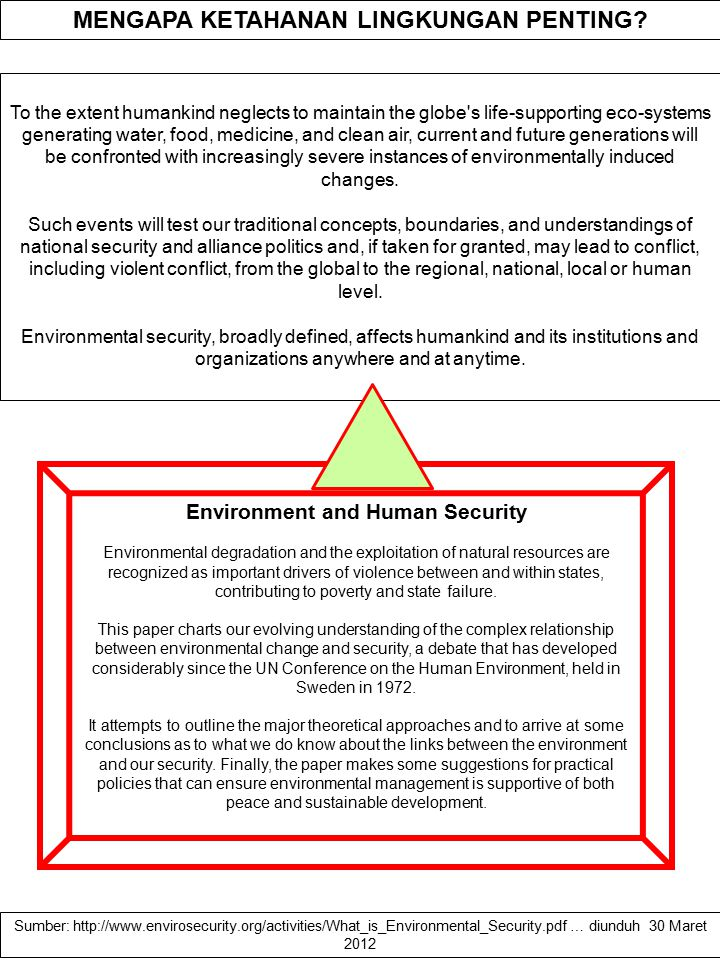 MENGAPA KETAHANAN LINGKUNGAN PENTING Environment and Human Security