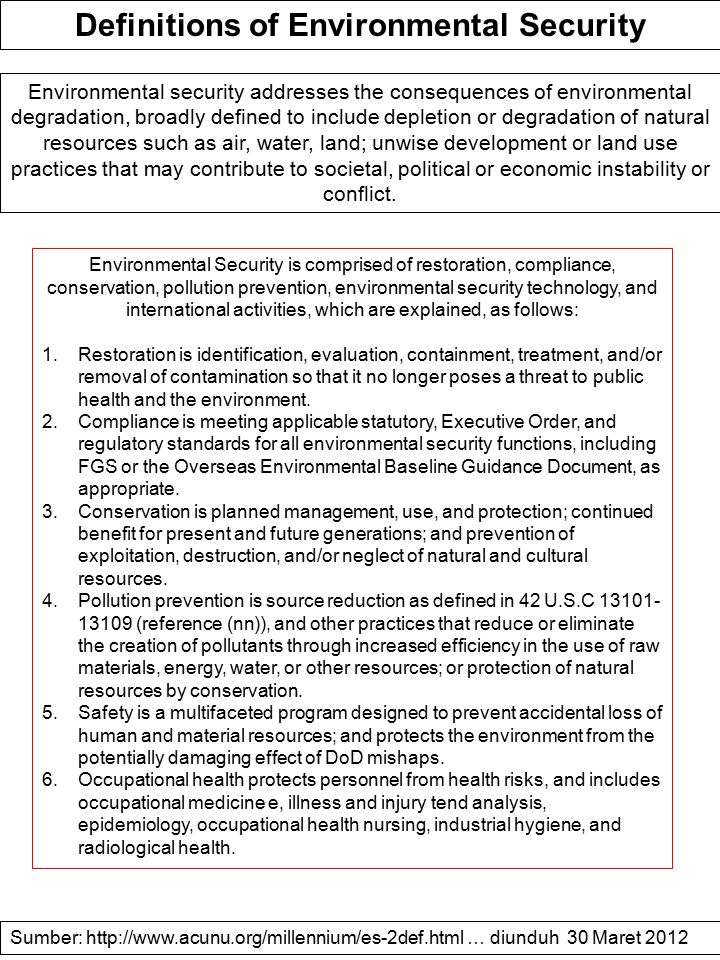 Definitions of Environmental Security
