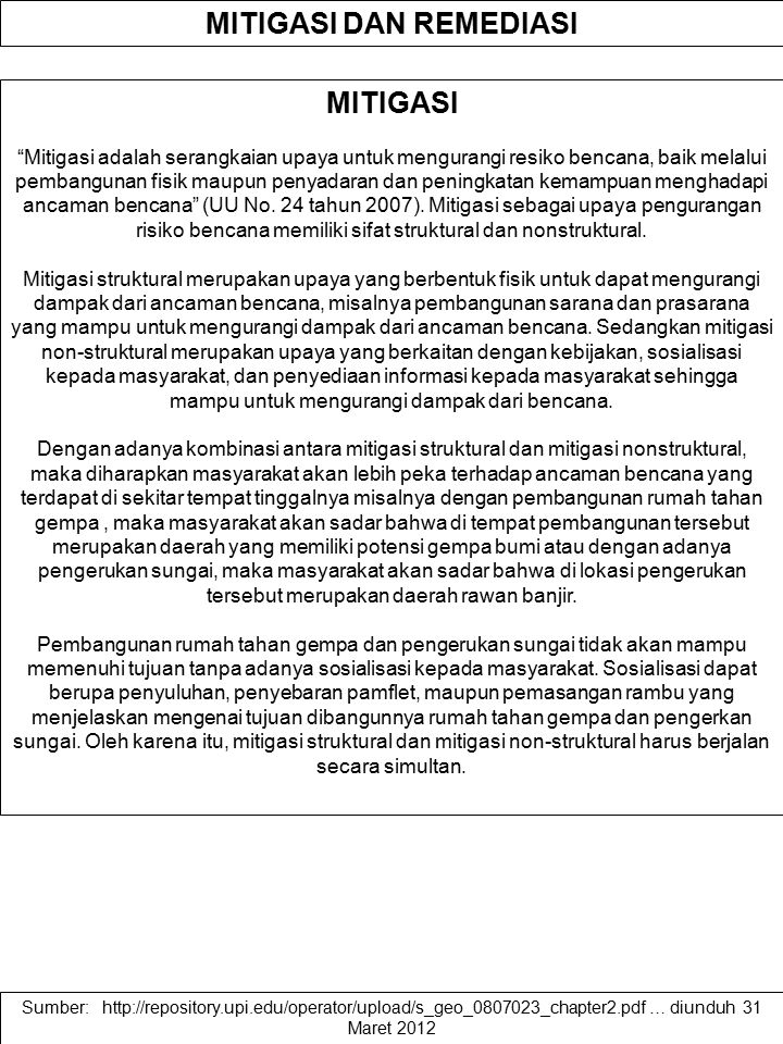 MITIGASI DAN REMEDIASI