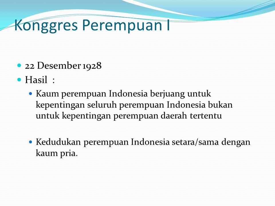 Konggres Perempuan I 22 Desember 1928 Hasil :