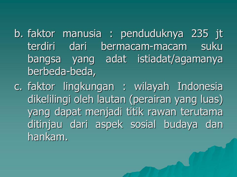 faktor manusia : penduduknya 235 jt terdiri dari bermacam-macam suku bangsa yang adat istiadat/agamanya berbeda-beda,
