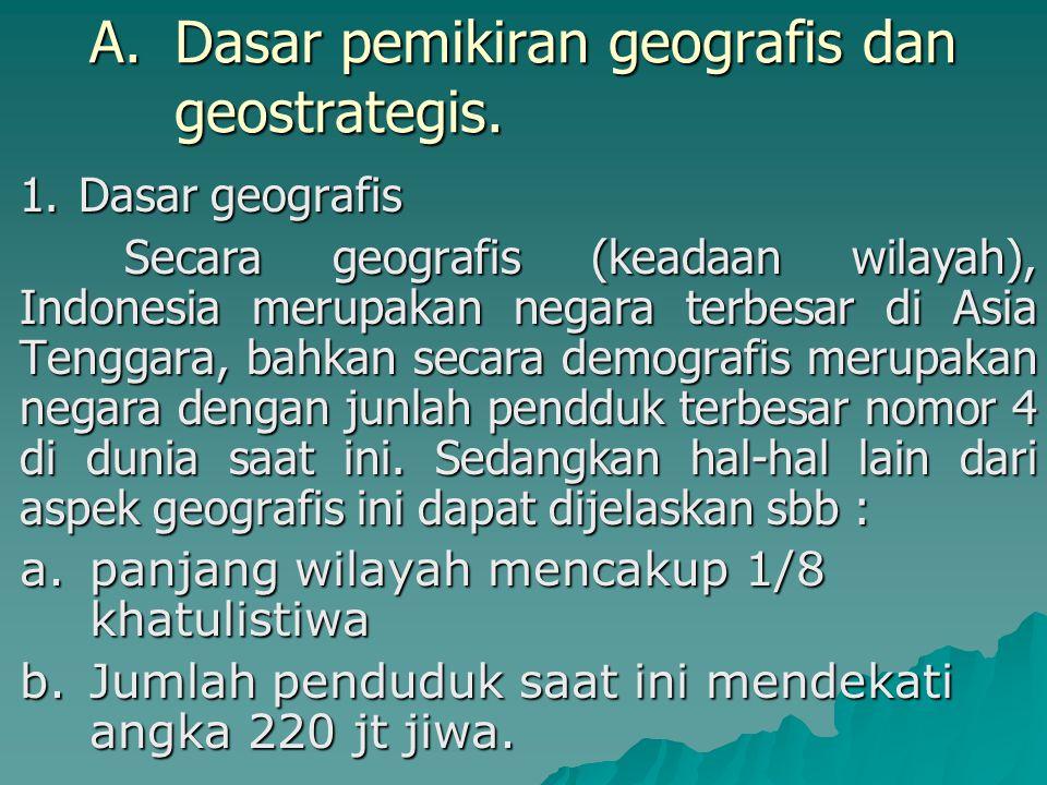 Dasar pemikiran geografis dan geostrategis.