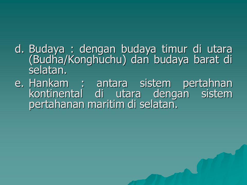 Budaya : dengan budaya timur di utara (Budha/Konghuchu) dan budaya barat di selatan.
