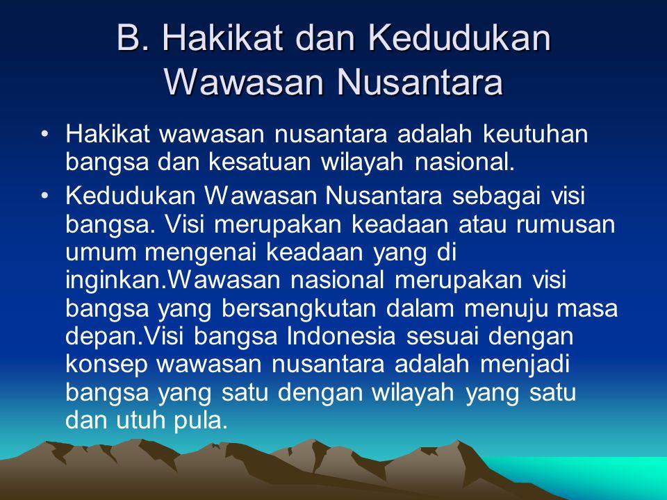 B. Hakikat dan Kedudukan Wawasan Nusantara