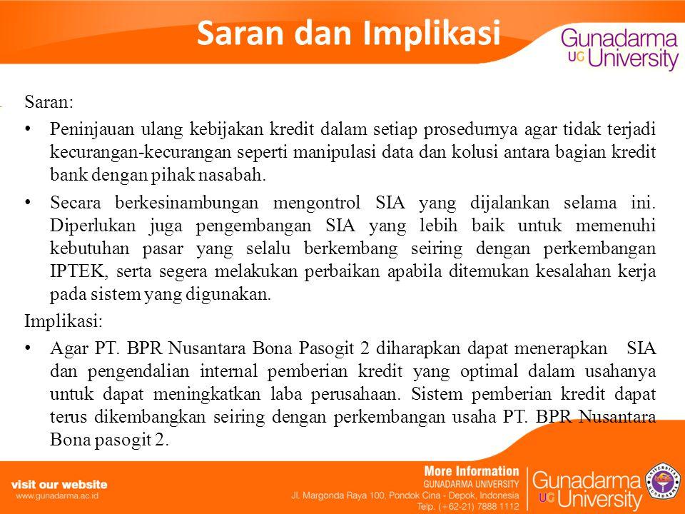 Saran dan Implikasi Saran: