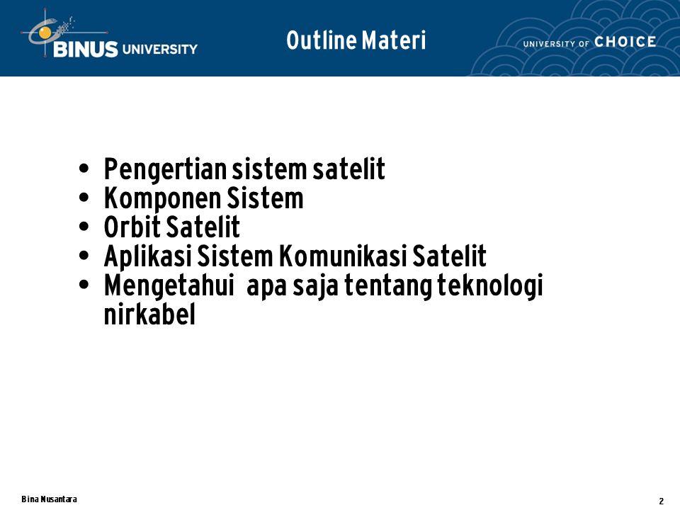 Pengertian sistem satelit Komponen Sistem Orbit Satelit