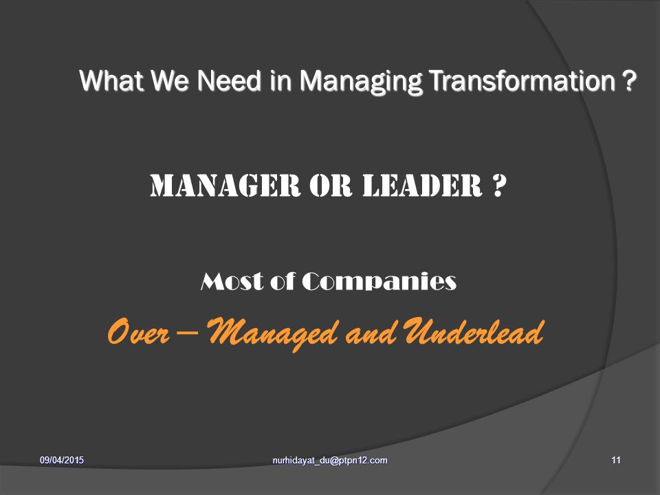 What We Need in Managing Transformation