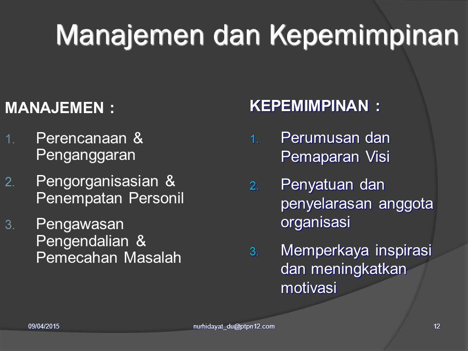 Manajemen dan Kepemimpinan