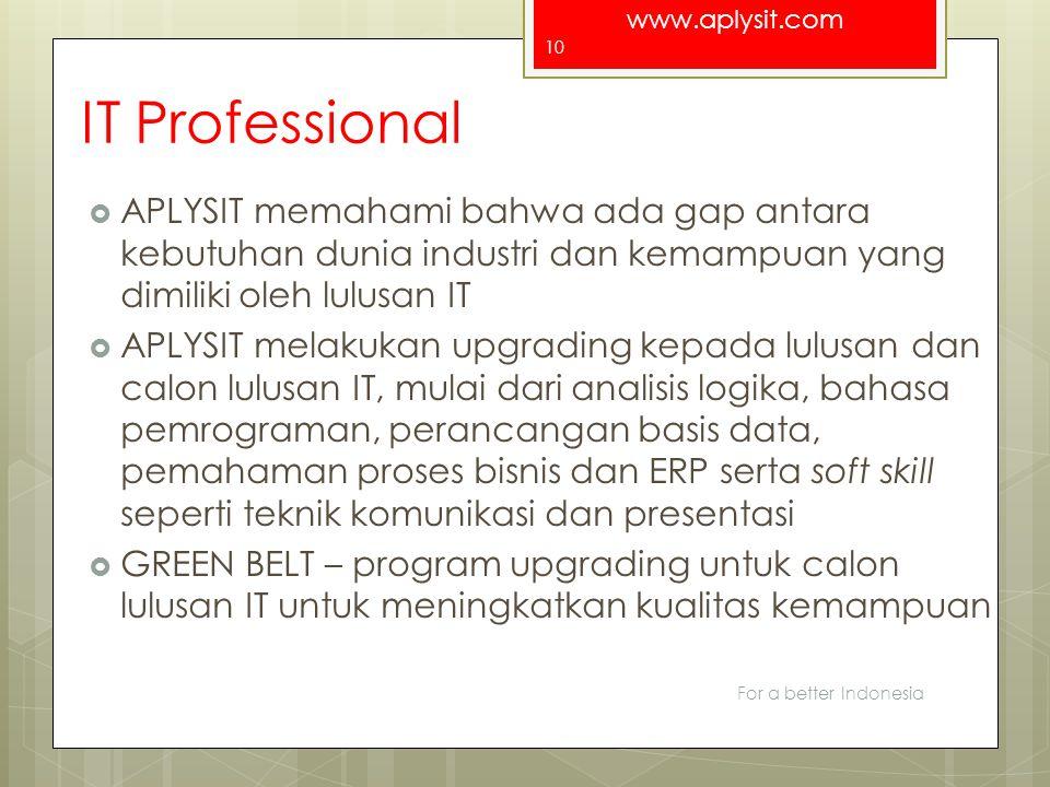 IT Professional APLYSIT memahami bahwa ada gap antara kebutuhan dunia industri dan kemampuan yang dimiliki oleh lulusan IT.