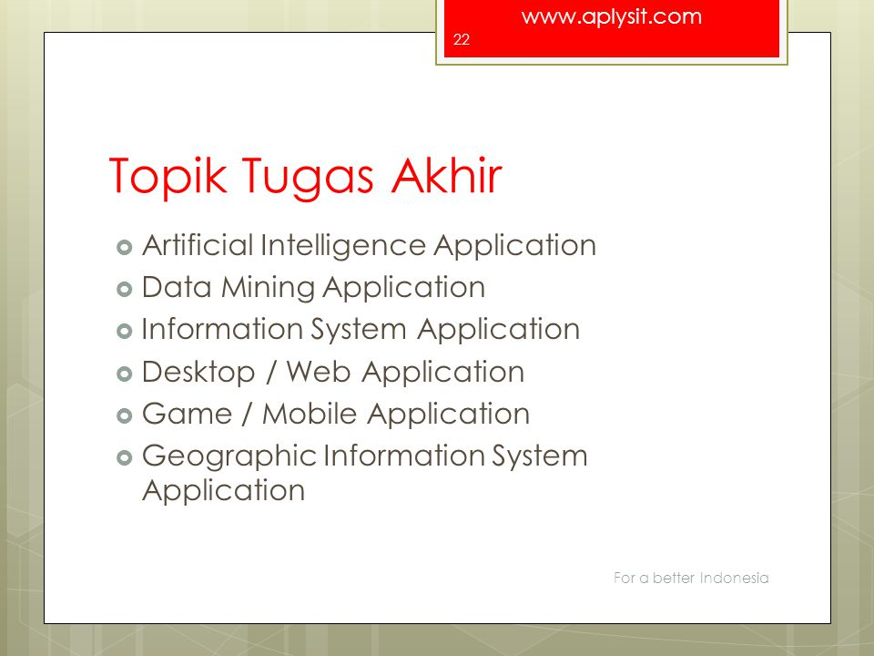 Topik Tugas Akhir Artificial Intelligence Application