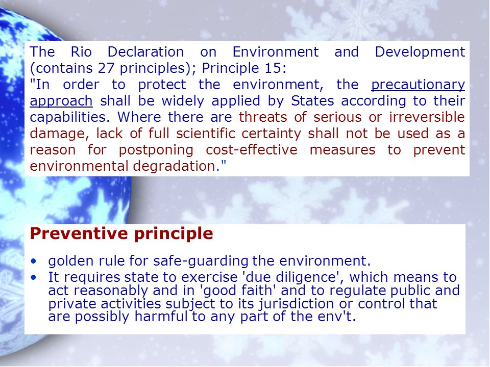 The Rio Declaration on Environment and Development (contains 27 principles); Principle 15: