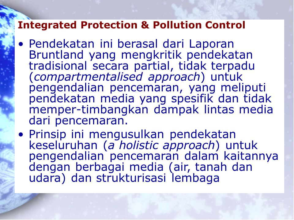 Integrated Protection & Pollution Control
