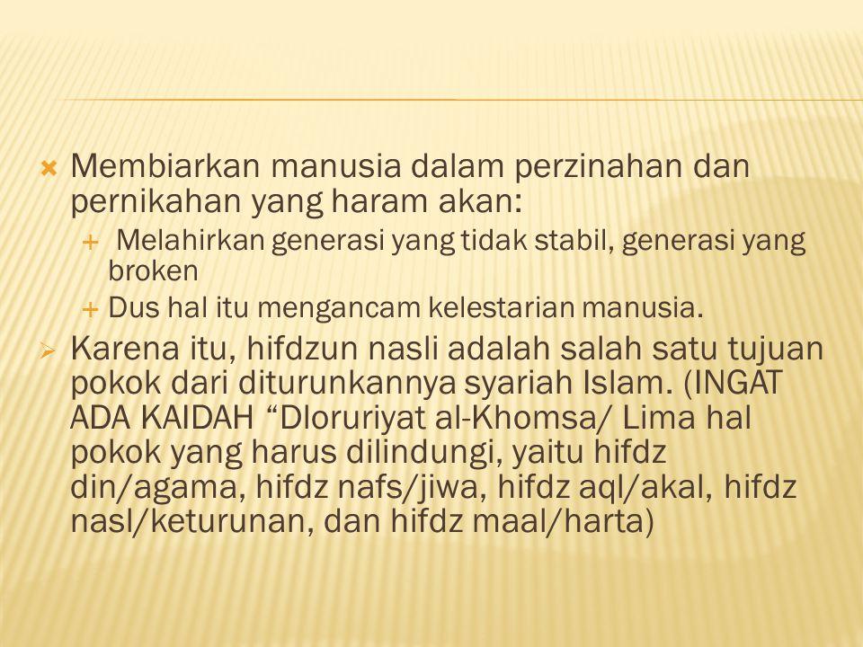 Membiarkan manusia dalam perzinahan dan pernikahan yang haram akan: