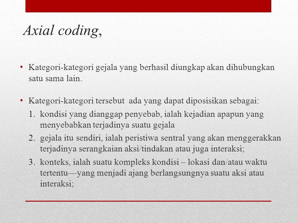 Axial coding, Kategori-kategori gejala yang berhasil diungkap akan dihubungkan satu sama lain.