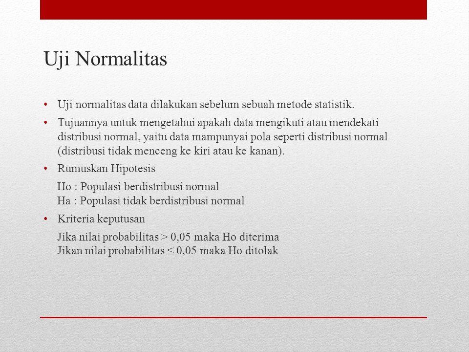 Uji Normalitas Uji normalitas data dilakukan sebelum sebuah metode statistik.