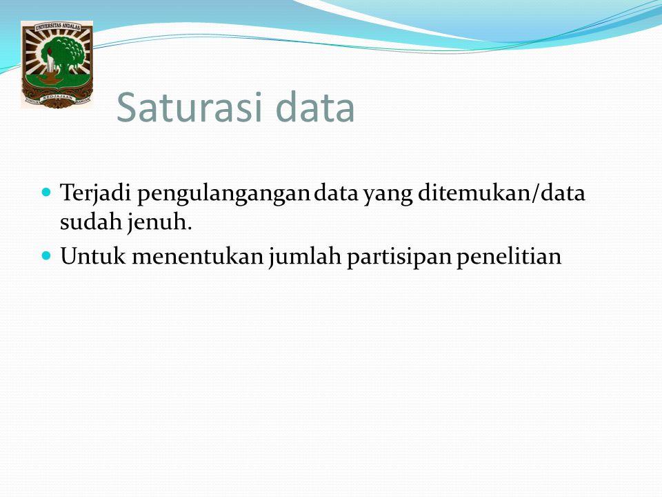 Saturasi data Terjadi pengulangangan data yang ditemukan/data sudah jenuh.