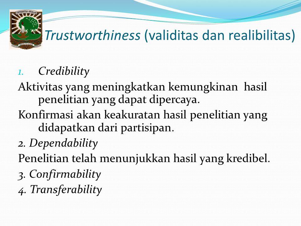 Trustworthiness (validitas dan realibilitas)