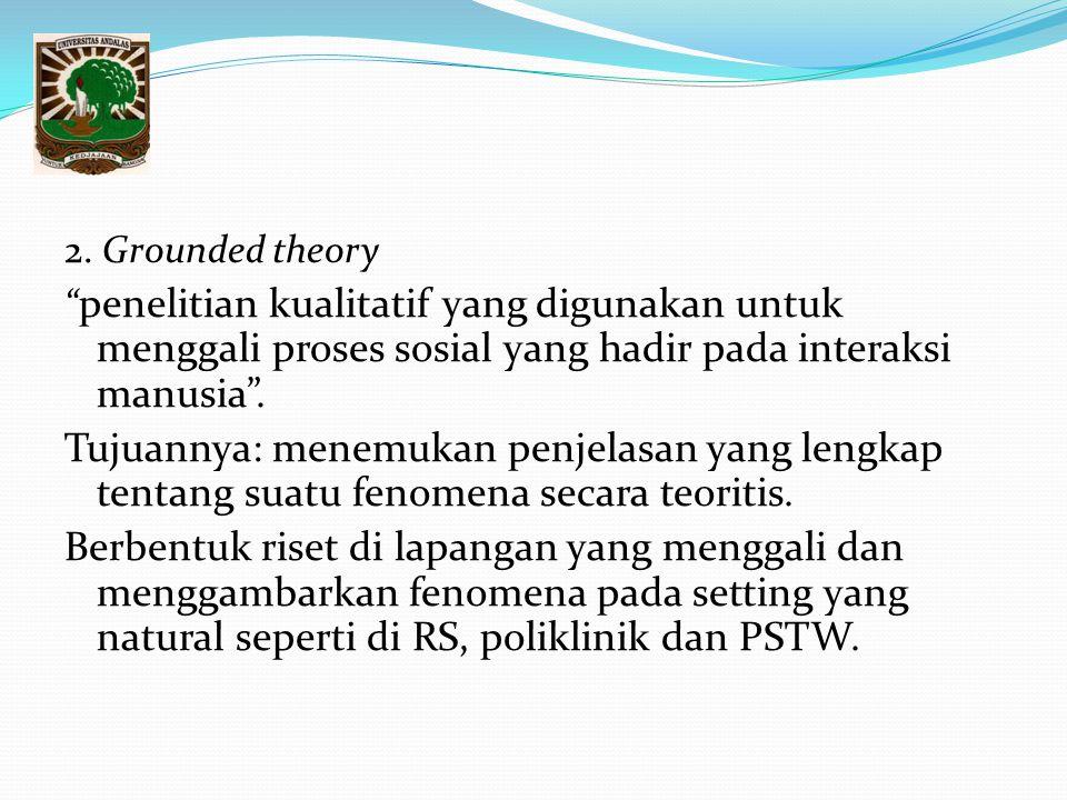 2. Grounded theory penelitian kualitatif yang digunakan untuk menggali proses sosial yang hadir pada interaksi manusia .
