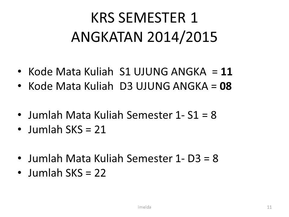 KRS SEMESTER 1 ANGKATAN 2014/2015