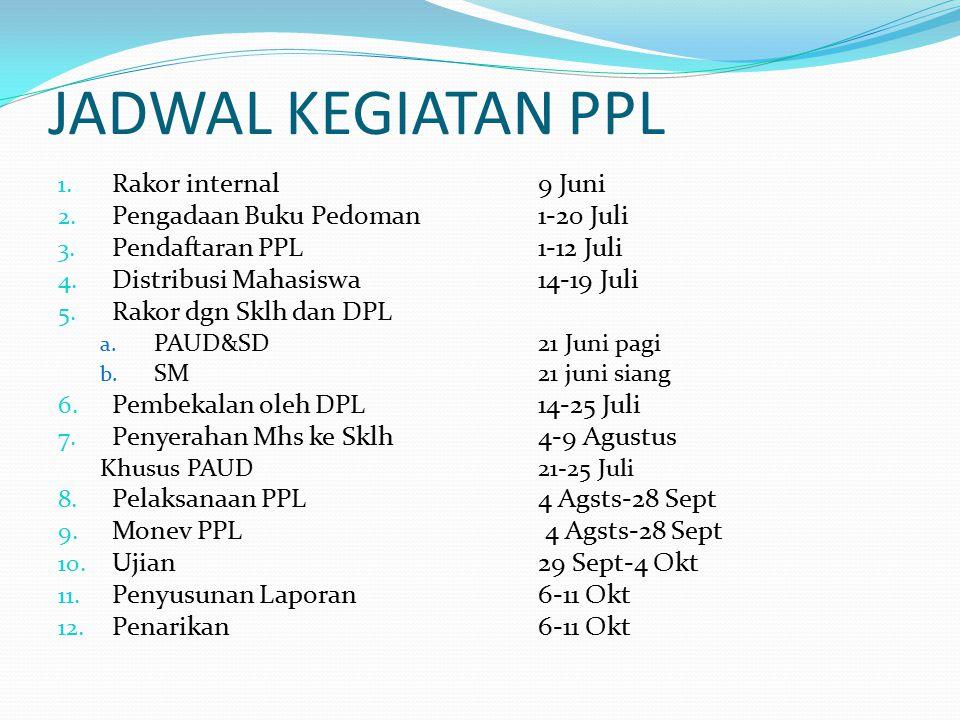 JADWAL KEGIATAN PPL Rakor internal 9 Juni