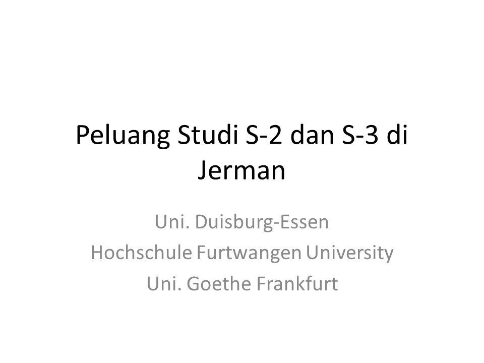 Peluang Studi S-2 dan S-3 di Jerman