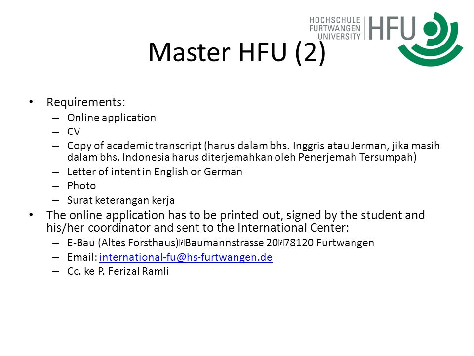 Master HFU (2) Requirements: